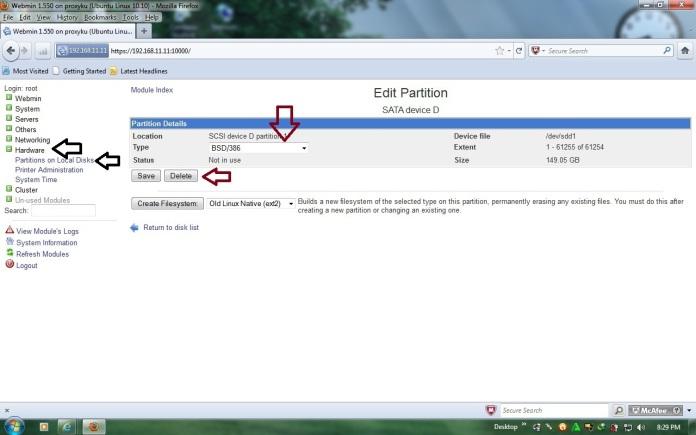 Menambah Partisi Hardisk untuk cache Proxy Ubuntu 10.10 Server